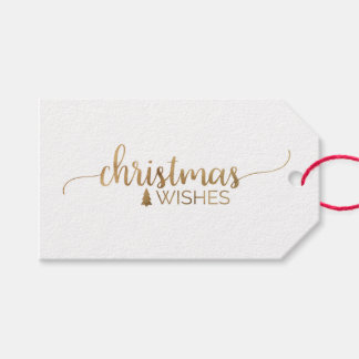 Étiquettes-cadeau Nom simple de Noël de calligraphie d'or
