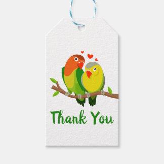 Étiquettes-cadeau Oiseaux verts et jaunes de Merci de perruches de
