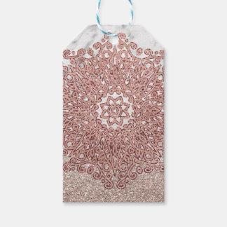 Étiquettes-cadeau Ombre rose de parties scintillantes de marbre de