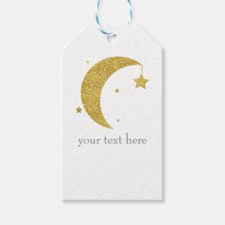 Étiquettes-cadeau Or et baby shower blanc de lune et d'étoiles