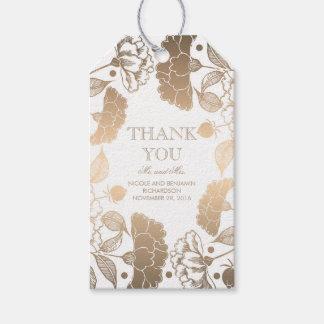Étiquettes-cadeau Or et guirlande florale blanche - épouser de