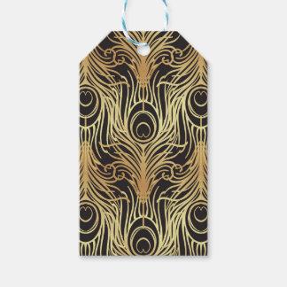 Étiquettes-cadeau or, noir, motif de paon, nouveau d'art, cru,