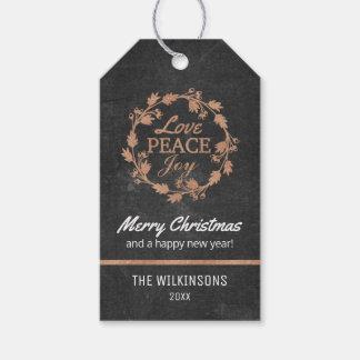 Étiquettes-cadeau Or rose de la joie   de paix d'amour de Noël de