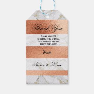 Étiquettes-cadeau Or rose de marbre blanc d'étiquettes de Merci