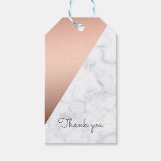 Étiquettes-cadeau Or rose élégant et baby shower de marbre blanc
