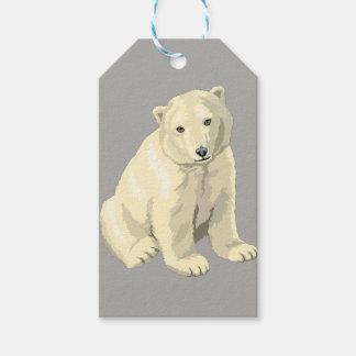 Étiquettes-cadeau Ours blanc gris personnalisé