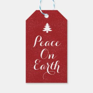 Étiquettes-cadeau Paix sur le scintillement rouge de la terre