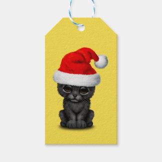 Étiquettes-cadeau Panthère noire mignonne CUB utilisant un casquette