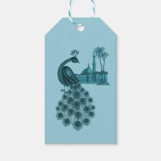 Étiquettes-cadeau Paon bleu romantique
