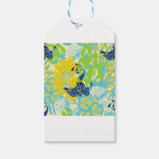 Étiquettes-cadeau paon floral