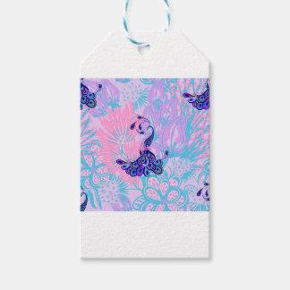 Étiquettes-cadeau paon rose floral