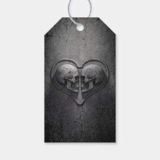 Étiquettes-cadeau Paquet gothique de coeur de crâne d'étiquettes de