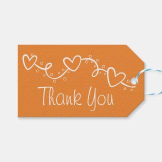 Étiquettes-cadeau Partie orange et blanche de Merci d'amour de