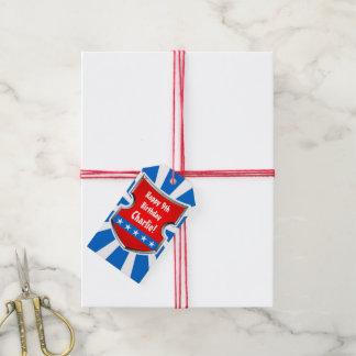 Étiquettes-cadeau Partie patriotique d'anniversaire de enfant de