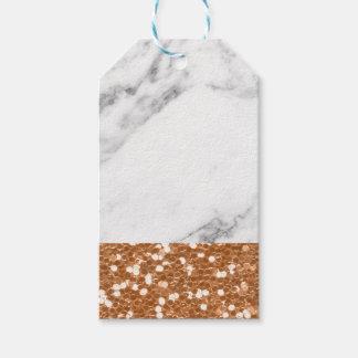 Étiquettes-cadeau Parties scintillantes roses d'or de marbre