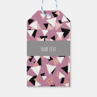 Étiquettes-cadeau Parties scintillantes roses d'or de triangles