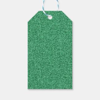 Étiquettes-cadeau Parties scintillantes vertes de faux