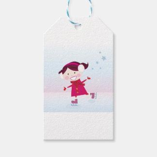 Étiquettes-cadeau Patinage de glace peu de rouge d'enfant