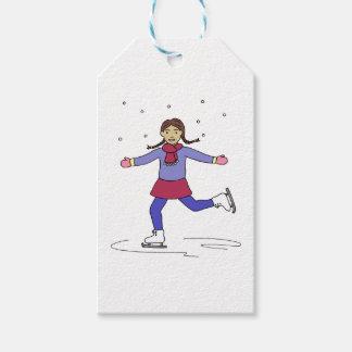 Étiquettes-cadeau Patineur artistique de fille de patinage de glace