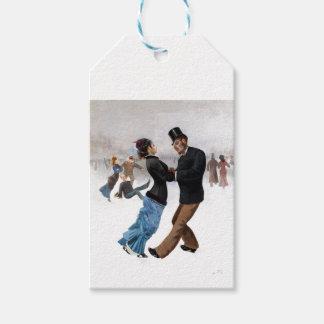 Étiquettes-cadeau Patineurs de glace vintages romantiques
