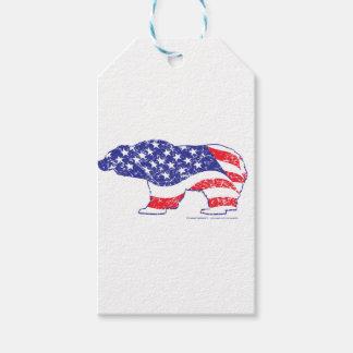 Étiquettes-cadeau Patriotique-Ours gris-détresse