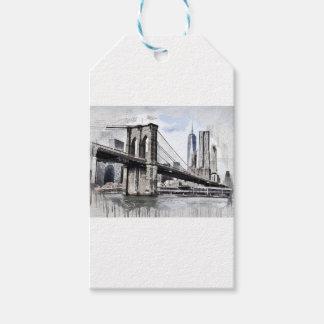 Étiquettes-cadeau Paysage urbain Etats-Unis de ville d'horizon