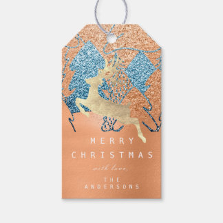 Étiquettes-cadeau Pêche bleue d'arbre de Noël de neige de parties