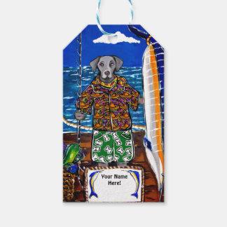 Étiquettes-cadeau Pêche de Weimaraner Marlin