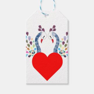 Étiquettes-cadeau pecock d'amour