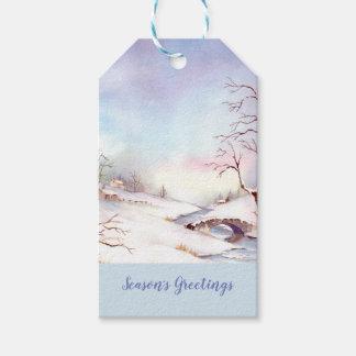 Étiquettes-cadeau Peinture de paysage d'aquarelle de pont de Milou