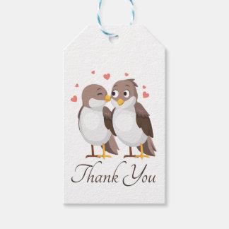 Étiquettes-cadeau Perruches Brown de Merci et oiseaux blancs de