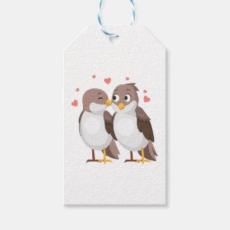 Étiquettes-cadeau Perruches Brown et oiseaux blancs de mariage,