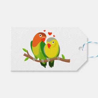 Étiquettes-cadeau Perruches vertes et oiseaux jaunes de mariage,