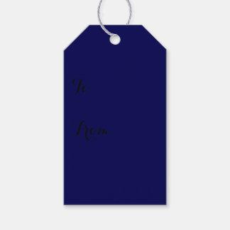 Étiquettes-cadeau Personnaliser de couleur solide de bleu marine il