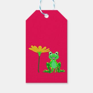 Étiquettes-cadeau petite grenouille et fleur jaune