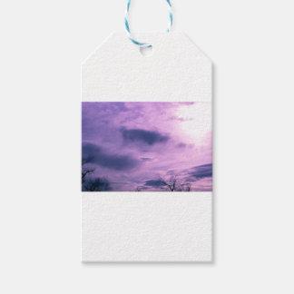Étiquettes-cadeau Photo pourpre de ciel