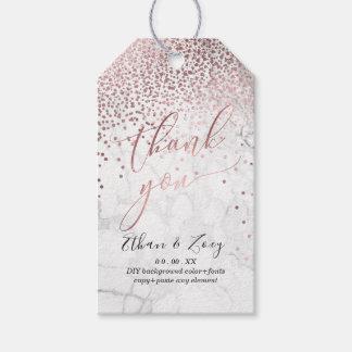 Étiquettes-cadeau PixDezines a brillé l'or/marbre roses de Faux