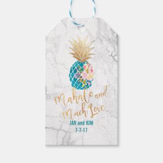 Étiquettes-cadeau PixDezines Mahalo/Aloha ananas/marbre