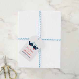 Étiquettes-cadeau Plage nautique de mariage de bleu marine et de