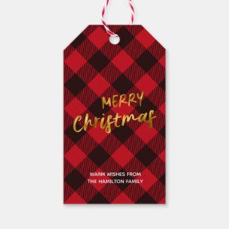 Étiquettes-cadeau Plaid de Buffalo de Joyeux Noël et manuscrit de