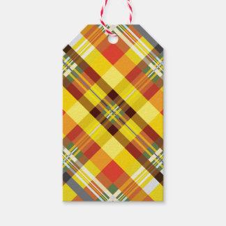 Étiquettes-cadeau Plaid/tartan - tournesol