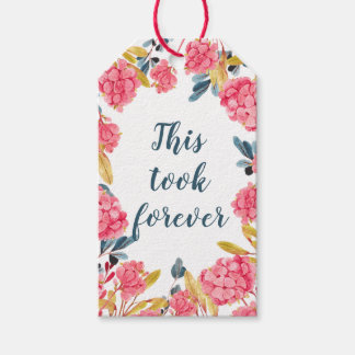 Étiquettes-cadeau Plaisanterie florale d'aquarelle bleue et rose