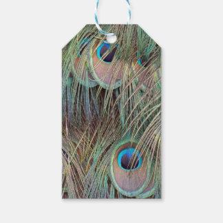 Étiquettes-cadeau plumes de paon