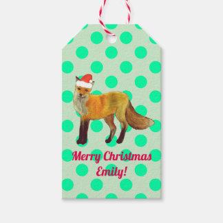 Étiquettes-cadeau Point de polka de Fox de Noël Teal