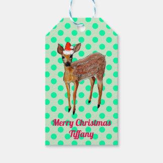 Étiquettes-cadeau Point de polka turquoise de cerfs communs de Noël