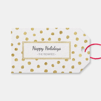 Étiquettes-cadeau Points de scintillement d'or