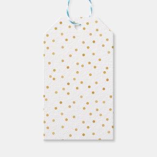 Étiquettes-cadeau Points modernes élégants de confettis d'or blanc