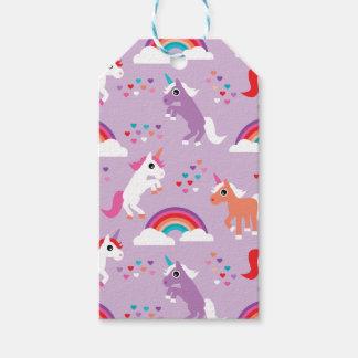 Étiquettes-cadeau Pourpre mignon d'arc-en-ciel de licorne