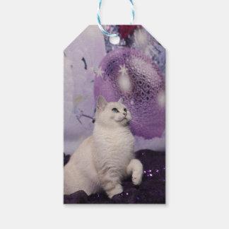 Étiquettes-cadeau Purple XMAS Cat