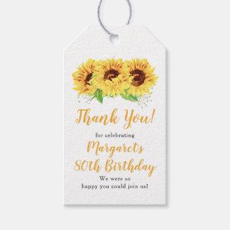 Étiquettes-cadeau Quatre-vingtième Merci d'anniversaire de tournesol